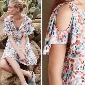 Anthropologie Maeve fluttered watercolor dress